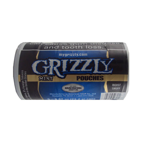 GRIZZLY POUCHES MINT 5ct / 0 82oz - Smokeless Snuff